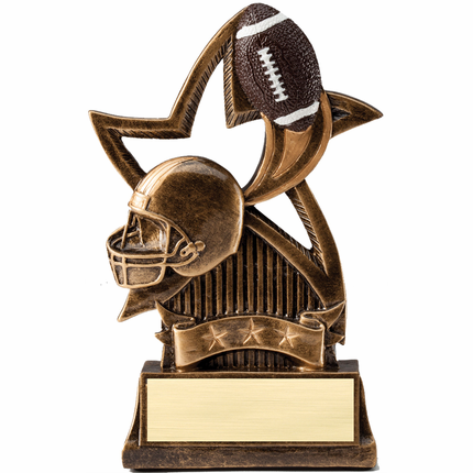 6 Inch Sweeping Star with Football Resin Trophy