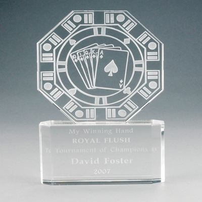 6 Inch Etched Crystal and Octagon Shaped Poker Award