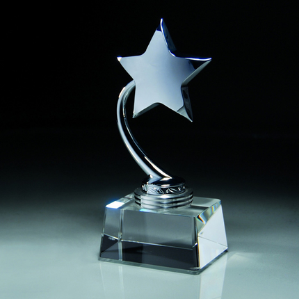 7-1/2 Inch Silver Metal Star Trophy on Optical Crystal Base