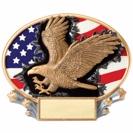 7-1/4 Inch Painted Resin American Flag with Gold Eagle Trophy