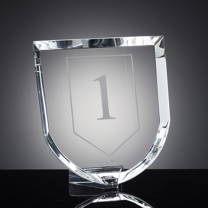 7-1/8 Inch Optical Crystal Cut and Shield Shaped Award