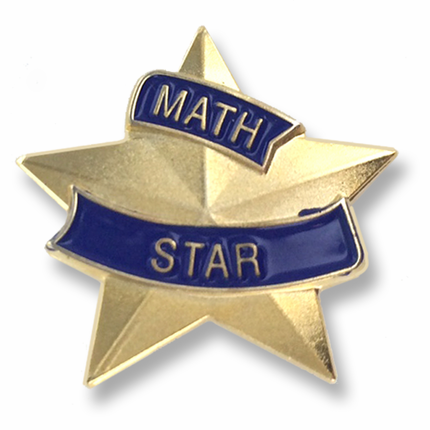 "7/8 Inch Blue and Gold ""Math Star"" Lapel Pin"