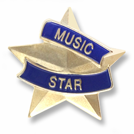 "7/8 Inch Blue and Gold ""Music Star"" Lapel Pin"