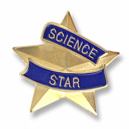 "7/8 Inch Blue and Gold ""Science Star"" Lapel Pin"