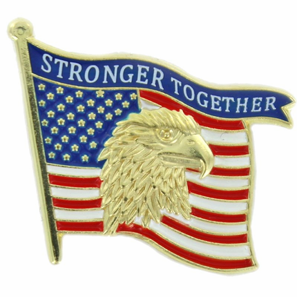7/8 Inch Stronger Together Eagle Flag Lapel Pin