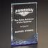 7 Inch Clear and Blue Rectangular Free Standing Acrylic Award
