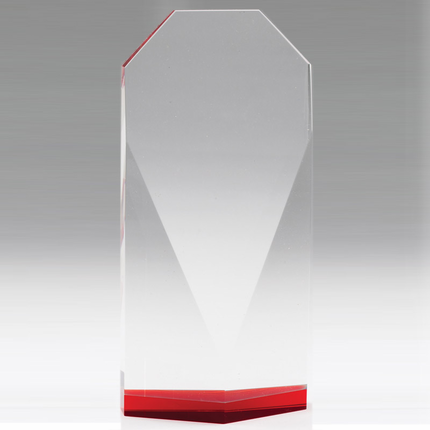 8-1/2 Inch Beveled Optical Crystal Tower Red Base