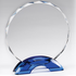 8-1/2 Inch Round Cut and Beveled Crystal Award on Blue Double Arch Base