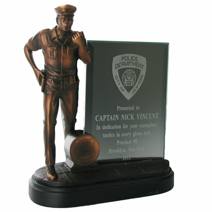 8-1/4 Inch Electroplated Bronze Police Officer Statue with Glass Insert Award