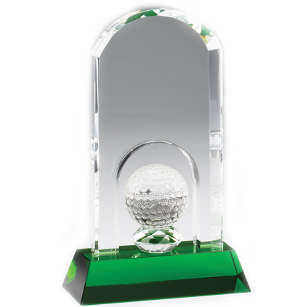 8-1/4 x 5 Inch Arch Golf Tower with Ball Optical Crystal Award