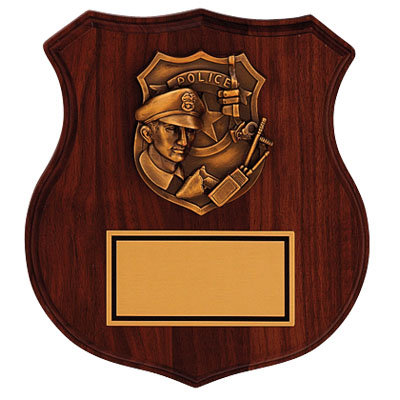 8-1/4 x 9 Inch Genuine Walnut Shield Plaque with Police Officer and Gold Plate