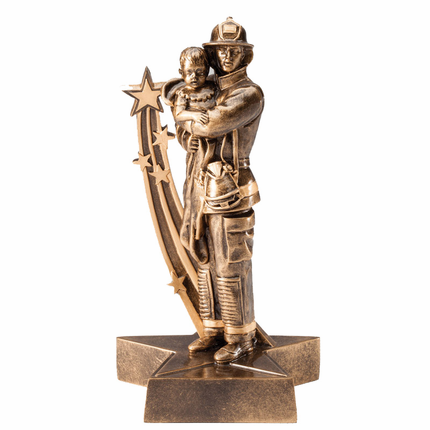 8-3/4 Inch Antique Gold Finish Resin Fireman Carrying Child Trophy