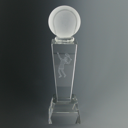 8-3/4 Inch Optical Crystal Shaped Tennis Ball with Laser Engraved Female Tennis Player Award