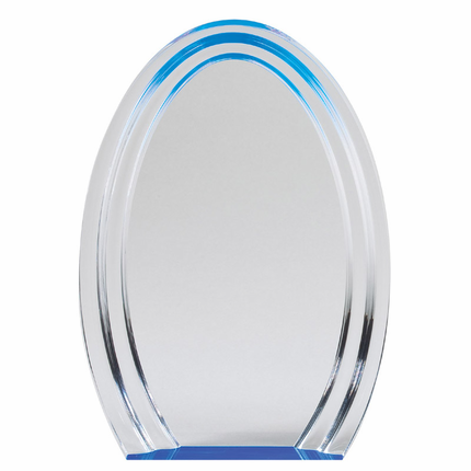 8 Inch Silver and Blue Oval Double Halo Acrylic Award