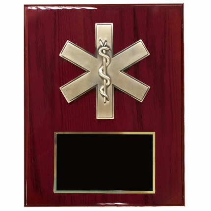 8 x 10 Inch Cherry Piano Finish Plaque with Paramedic Star of Life