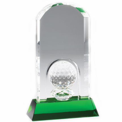 9-1/4 x 6-1/2 Inch Arch Golf Tower with Ball Optical Crystal Award