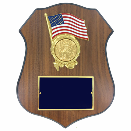 9 x 11-1/2 Inch Walnut Veneer Shield Plaque with Gold American Flag-Takes 2 Inch Insert