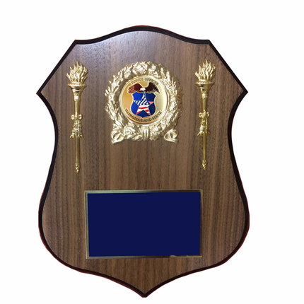 9 x 11-1/2 Inch Walnut Veneer Shield Plaque with gold wreath-Takes 2 Inch Insert