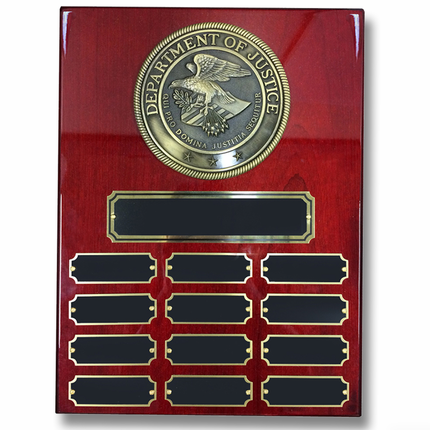 9 x 12 Cherry Piano Finish Perpetual Plaque with Department of Justice Medallion