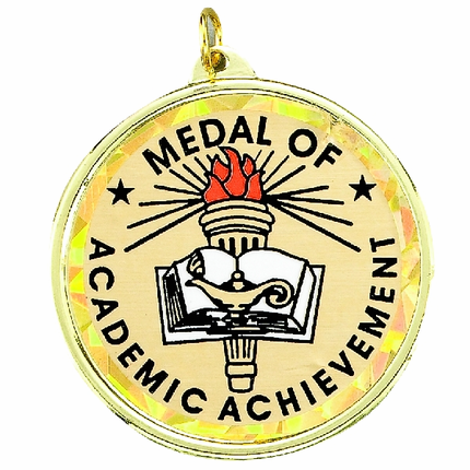 "2-1/4 Inch Medal Frame with 2 Inch ""Medal of Academic Achievement"" Mylar Insert Label"