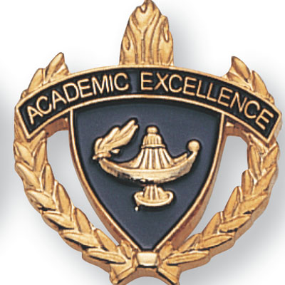 "1 Inch Gold ""Academic Excellence"" with Lamp of Learning and Wreaths Enameled Lapel Pin"