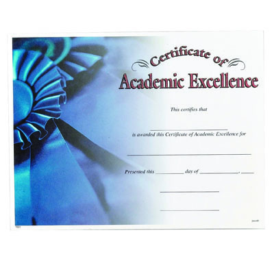 """11 x 8-1/2 Inch """"Academic Excellence"""" Certificate"""