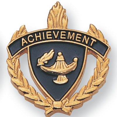 """1 Inch Gold """"Achievement"""" with Lamp of Learning and Wreaths Enameled Lapel Pin"""