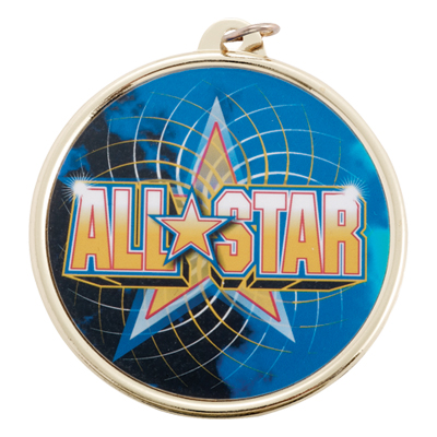 "2-1/4 Inch Medal Frame with 2 Inch ""All Star"" with Star Mylar Insert Label"