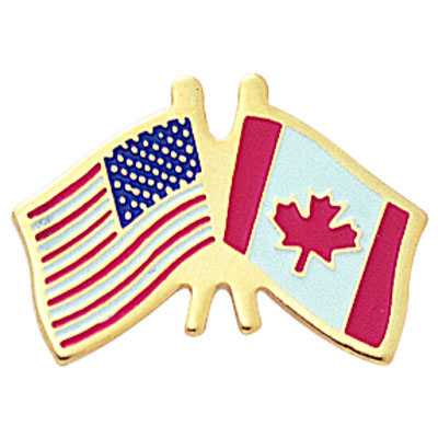 7/8 Inch American-Canadian Flags Enameled Lapel Pin