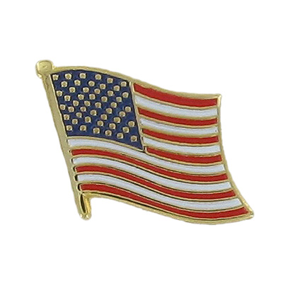 1/2 Inch Gold American Flag Enameled Lapel Pin
