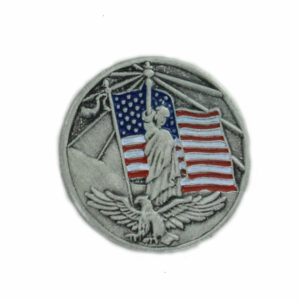 7/8 Inch American Flag, Statue of Liberty & Eagle Pewter Lapel Pin