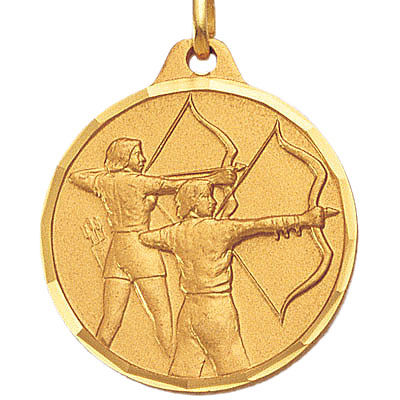 1-1/4 Inch Diamond Cut Border Female and Male Archers Medal