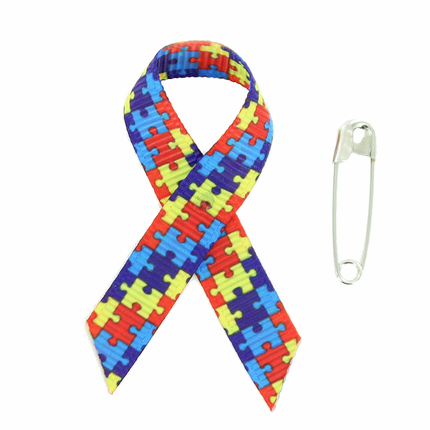 Awareness Ribbon Autism 2-1/4 x 1-1/4 Inches with Safety Pin