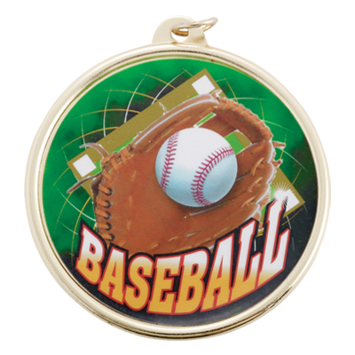 2-1/4 Inch Medal Frame with 2 Inch Baseball Mylar Insert Label
