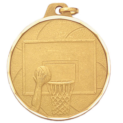 1-1/2 Inch Diamond Cut Border Basketball in Hoop Medal