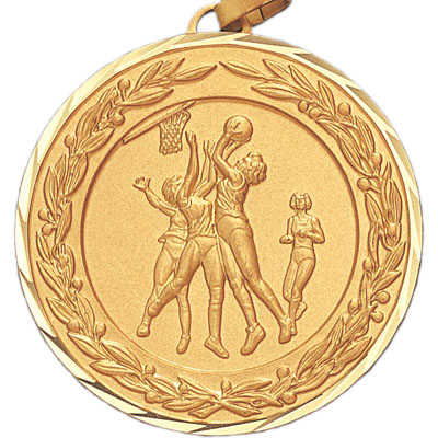 2 Inch Diamond Cut and Wreath Border Female Basketball Game Medal