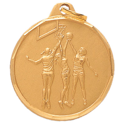 1-1/4 Inch Diamond Cut Border Female Basketball Player Medal