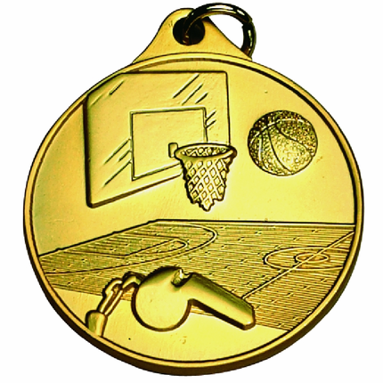 1-1/2 Inch Scalloped Border Baskeball, Hoop, and Whistle Medal