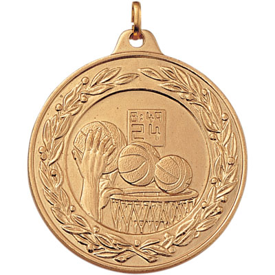 2 Inch Scalloped and Wreath Border Basketball Dunk Medal