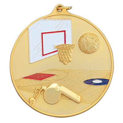 2-1/2 Inch High Relief Enameled Basketball, Hoop, and Court Medal