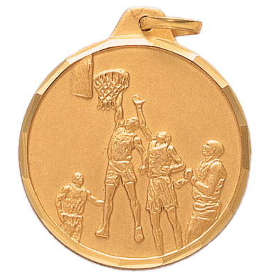 1-1/4 Inch Diamond Cut Border Basketball Player Medal