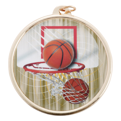 2-1/4 Inch Medal Frame with 2 Inch Basketball Mylar Insert Label