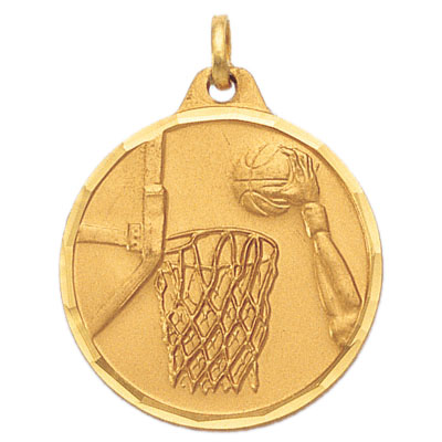 1-1/4 Inch Diamond Cut Border Basketball Dunk Medal