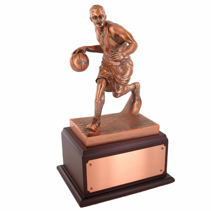 13-1/2 Inch Electroplated Antique Bronze Basketball Player Trophy
