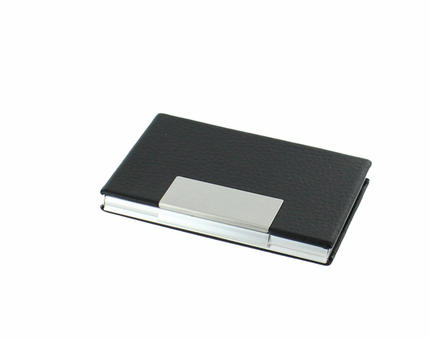 3-3/4 x 2-1/2 Inches Aluminum and Black Leather Business Card Case Holder