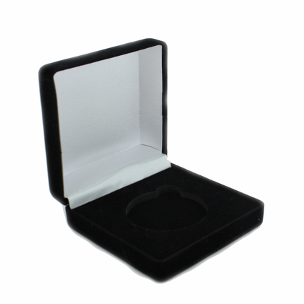 3-1/2 x 3-1/2 x 1-1/2 Inch Black Velour Medal Presentation Box-Holds 2 Inch Coin