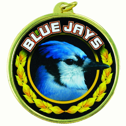 "2-1/4 Inch Medal Frame with  2 Inch ""Blue Jays"" Mascot Mylar Insert Label"