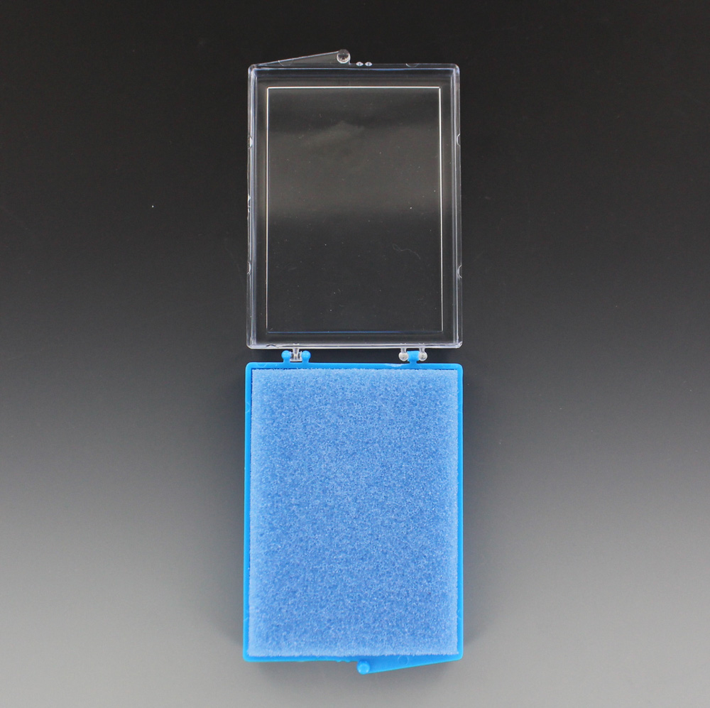 Acrylic Box 4 X 4 : Inches blue and clear plastic hinged