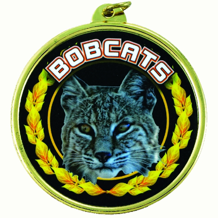 """2-1/4 Inch Medal Frame with 2 Inch """"Bobcats"""" Mascot Mylar Insert Label"""