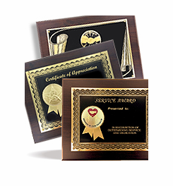Certificates, Certificate Plaques, Certificate Frames, and Holders